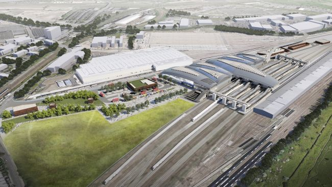 CGI image issued by HS2 of the proposed Old Oak Common Station in west London (c) HS2