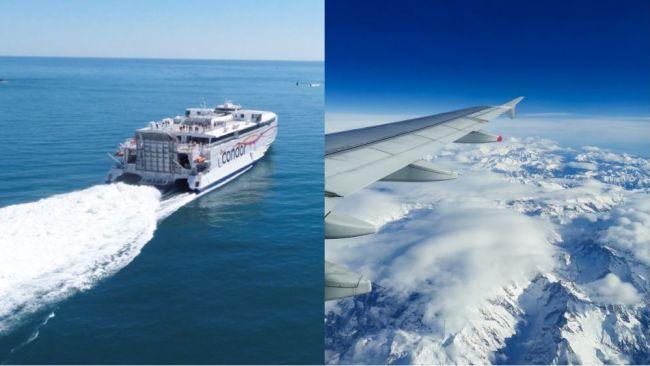 Condor ferries + plane in sky