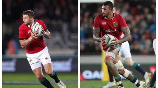Dan Biggar (left) and Courtney Lawes (right) in action for the Lions in 2017.