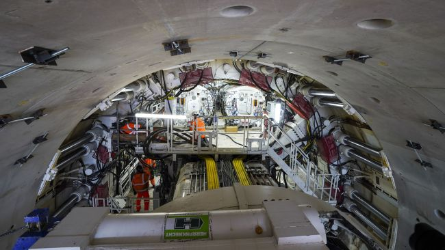 Workers on Florence - the largest ever tunnel boring machine used on a UK rail project - which is unveiled at the HS2 site in West Hyde near Rickmansworth in Hertfordshire. Picture date: Thursday May 13, 2021.
