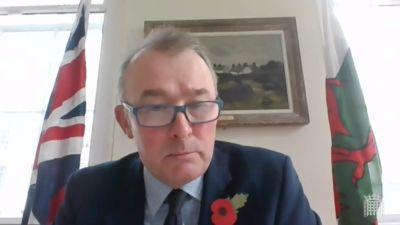 Welsh Secretary Simon Hart addressing the Welsh Select Ctte