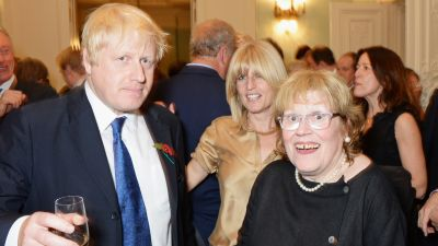 """LONDON, ENGLAND - OCTOBER 22: (L to R) Mayor of London Boris Johnson, sister Rachel Johnson and mother Charlotte Johnson Wahl attend the launch of Boris Johnson's new book """"The Churchill Factor: How One Man Made History"""" at Dartmouth House on October 22, 2014 in London, England. (Photo by David M. Benett/Getty Images)"""