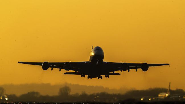 British Airways Airbus A380-841 as it takes off from Heathrow Airport