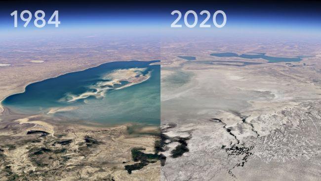 Aral Sea in Kazakhstan in 1984 and 2020.