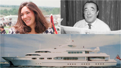 Split photo of Ghislaine Maxwell, Robert Maxwell, and the yacht
