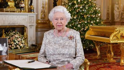 Queen Elizabeth II after she recorded her annual Christmas Day message, in the White Drawing Room of Buckingham Palace in central London in 2018.
