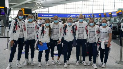 Members of the Team GB Women's Football Team depart London for the Tokyo Olympics