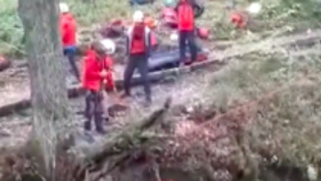 Members of Patterdale Mountain Rescue Team rescuing a man in the Lake District. From Patterdale MRT, 14/10/2021