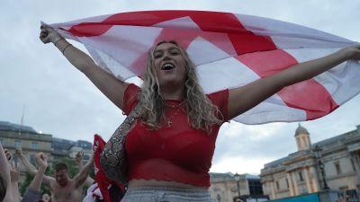 An England fan with a St George's flag