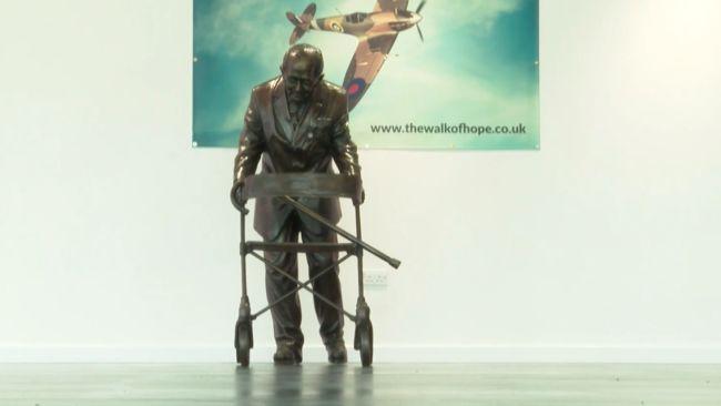 010521 Sir Captain Tom Moore bronze sculpture on show in Leeds