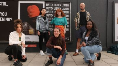 #WhoseFuture creatives gather in front of some of the installations in Bristol