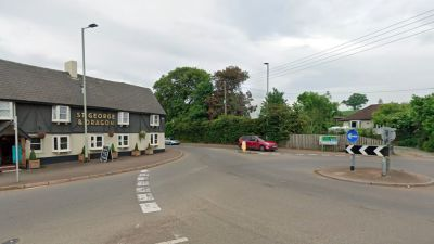 A woman in her 70s and a man in his 80s broke their ribs in a collision by the roundabout outside St George and Dragon pub