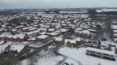 Aerial view over a snowy Winlaton, Gateshead