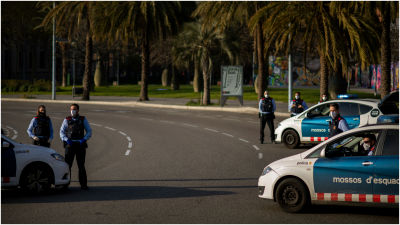 Catalan police on guard at checkpoint