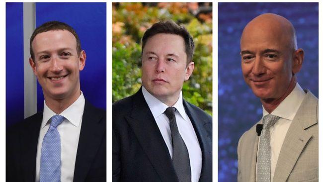 Mark Zuckerberg, Elon Musk & Jeff Bezos.  Three of the ten richest men in the world