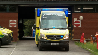 An ambulance leaves Taunton Ambulance Station
