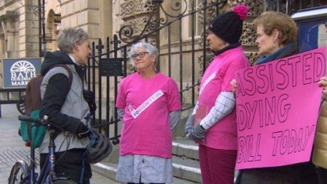 Assited dying campaigner (centre) Pauline Carroll