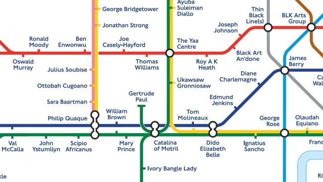 Undated handout image issued by Transport for London (TfL) of a Black history Tube map where 272 station names have been replaced by notable black figures from pre-Tudor times to the present day. Issue date: Tuesday October 12, 2021.