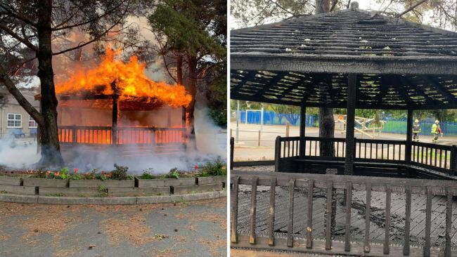 Two crews were called to the school after a fire broke out at and destroyed a wooden pavilion