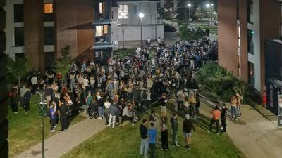 students gathering at exeter uni