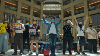 Protesters gather at a shopping mall in central Hong Kong during a pro-democracy protest against Beijing's national security law.