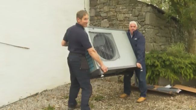 A heat pump being installed in Cumbria. 19/10/21, ITV pic