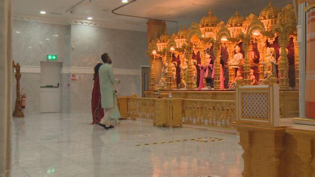 Family Worship at Shri Swaminarayan Mandir, Wellingborough