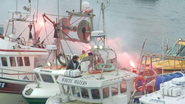 Boats sending off flares