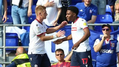 Dapo Afolayan scored twice for Bolton against Ipswich.