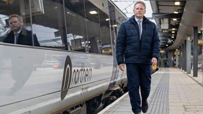 Transport Secretary Grant Shapps MP at Leeds railway station.