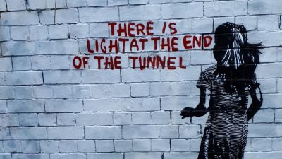 Artwork in the style of Banksy spotted on a wall in Bristol