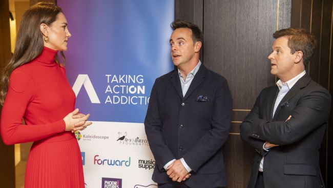 (left to right) The Duchess of Cambridge meets television presenters Ant McPartlin and Declan Donnelly at the launch of the Forward Trust's Taking Action on Addiction campaign at BAFTA, London. Picture date: Tuesday October 19, 2021.
