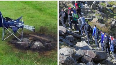 Illegal campers and hikers Snowdonia