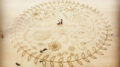 The sand art which convinced Jade Smith to say 'yes'