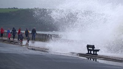 Waves crash on the Front Strand in Youghal, Co. Cork in the wake of Storm Ellen.