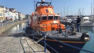 One of Guernsey's lifeboats moored in St Peter Port Harbour.