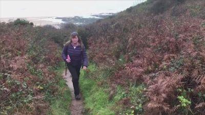 Karen Penny walking a strech of the British Isles coastal path