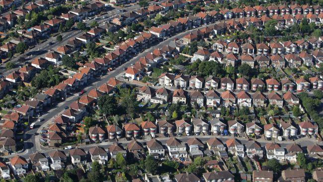 Aerial photo of houses at Bexleyheath, SE London.