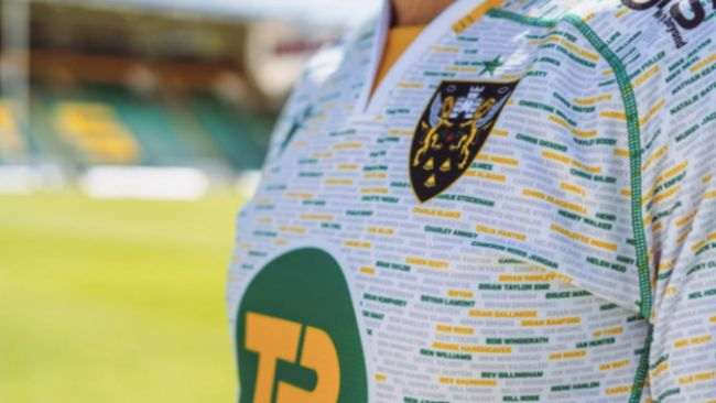 The new Northampton Saints away shirt, featuring the names of supporters.