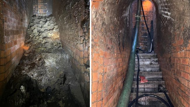 Undated handout photos issued by Thames Water of a fatberg, that had the weight of a small bungalow, under Yabsley Street, Canary Wharf, London, before and after its removal. Issue date: Friday February 19, 2021.