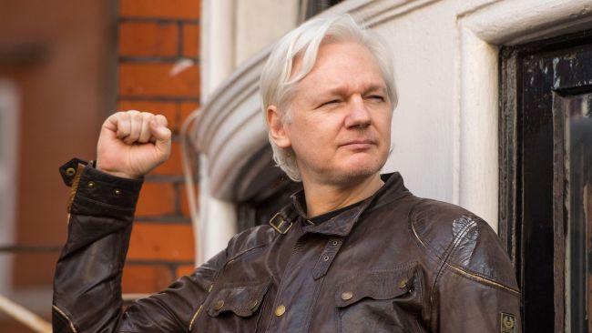 Julian Assange outside the Ecuadorian Embassy in 2017