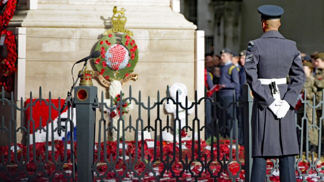 A member of the military at the Cenotaph