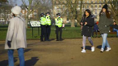 People out for a walk on Clapham Common