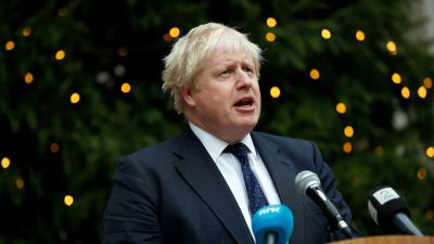 Boris Johnson and a Christmas tree