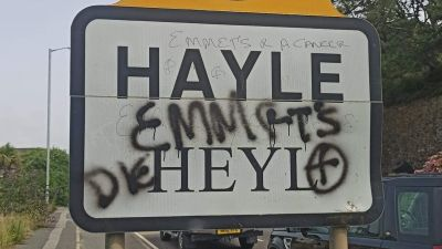 Anti-tourist graffiti popped up on a 30 mph road sign in Hayle