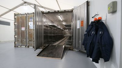 Inside one of the storage units at the overflow mortuary at Breakspear Crematorium in Ruislip, London which will provide an additional 20% in capacity for public mortuaries in London, helping to relieve pressure on hospitals and council-run morgues.