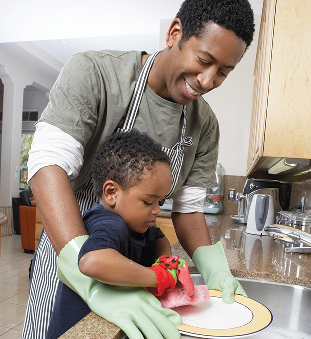 Man-and-Son-Washing-Dishes