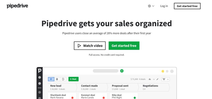 pipedrive website screenshot