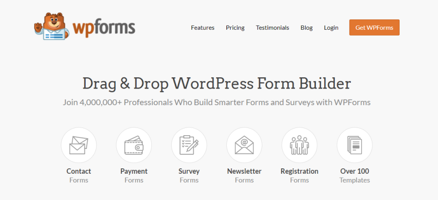 wpforms homepage screenshot
