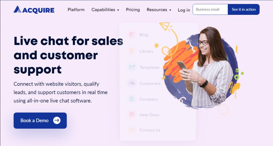 Acquire.io homepage screenshot
